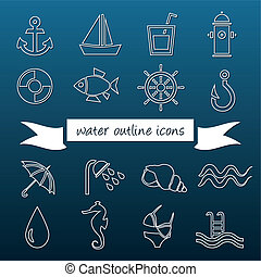 water outline icons