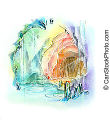 quartz cave rainbow color fantasy illustration - quartz cave...
