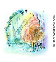 quartz cave rainbow color fantasy illustration - quartz cave...