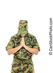 Marine soldier officer praying in military uniform - Marine...
