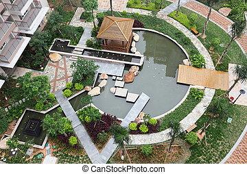 Beautiful garden - Top view of a beautiful garden in a...