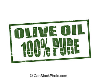 Pure olive oil - Rubber stamp with text pure olive oil...