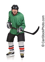 Hockey player is ready to fight of the strike. Standing full...