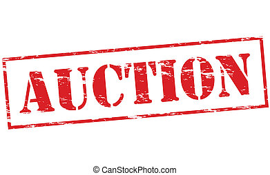 Auction - Rubber stamp with word auction inside, vector...