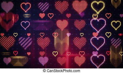 twitching glowing heart shapes loopable background -...