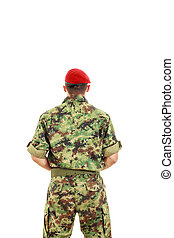 Military army soldier with turned back wearing uniform and...