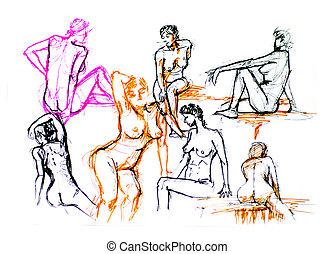 sketch illustration of nude, naked girls