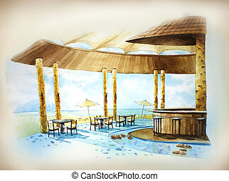 resort bar by the sea illustration watercolor painting