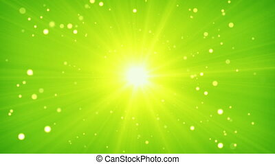 green yellow light and particles loop background - green...