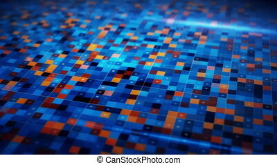 beaming blue orange squares loopable techno background