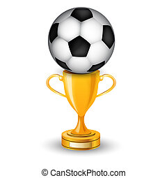 Gold cup winner with soccer ball