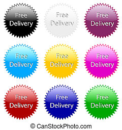 Free delivery ! Colorful website vector icon.