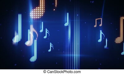 twitching musical notes loopable background