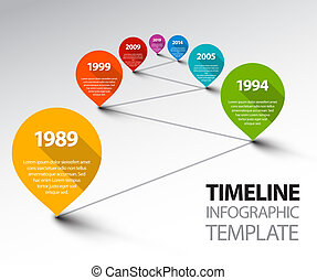 Fresh Infographic Timeline Template with pointers on a line...