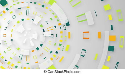 multicolored techno circular segments loop background -...