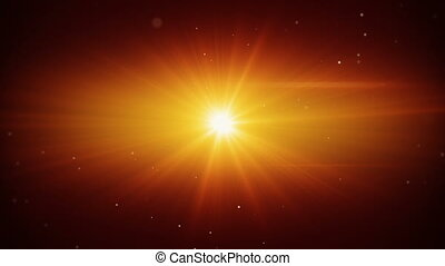 flying particles and orange light flares loop background -...