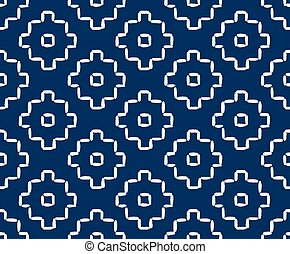 Hand drawn seamless indigo folk pattern - Hand drawn...
