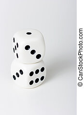 The dice on a white table