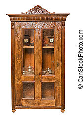 Antique cupboard isolated on white background