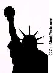 Liberty Silhouette - Black silhouette on a white background...