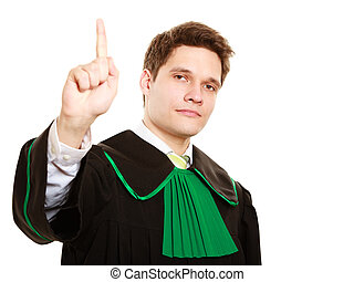 Law. Man lawyer in polish gown counting on fingers - Law...