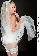 Sexy Young Wedding Bride in White Lingerie - Sexy Young Pin...