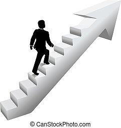 Business man climb stairs success - Business person climbing...