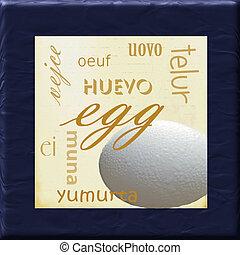 Egg Kitchen - A photograph of an egg framed in dark blue...