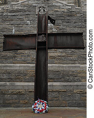 Crucifix style cross from World Trade Center isolated on...