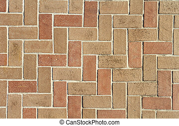 Brick Pavers Background Texture From Above - A red and brown...