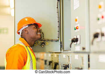 young african american electrician - smiling young african...