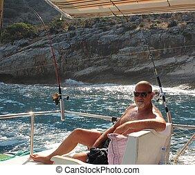 A man on a fishing trip in Turkey