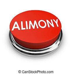 Alimony Word 3D Red Button Spousal Support Legal Help -...