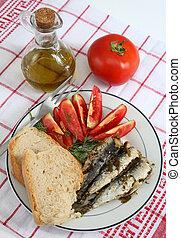 tomate, sardinhas,  vertical, pão