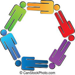 Teamwork business people logo - Teamwork colorful people...