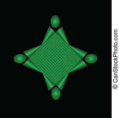 Teamwork green abstract unity concept