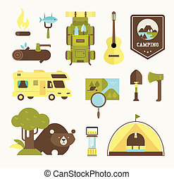 camping vector icons flat style illustration cute