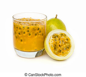 Ripe passion fruit with passion fruit juice isolated on...