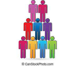 Teamwork social networking people unity concept vector icon