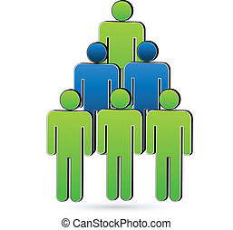 Teamwork people tree shape logo