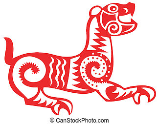 lucky tiger - chinese traditional papercut