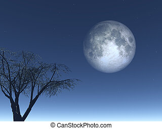 luna - full moon and  tree at night - 3d illustration