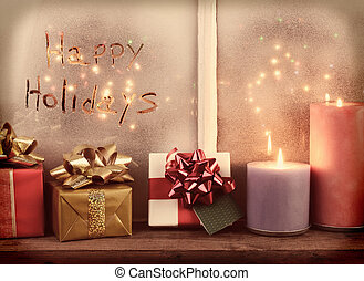 Instagram Happy Holidays Window - Happy Holidays written in...
