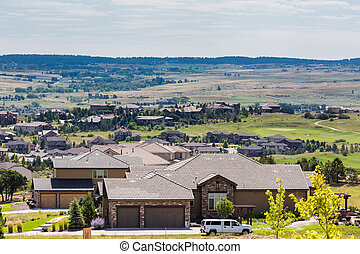 Suburbia - Typical American suburban community with model...