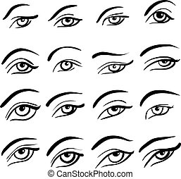 Set of 16 eye designs