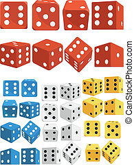 Dice in Several Positions and Color - A vector set of in...
