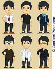 Handsome Young Man Character Set - A vector set of several...