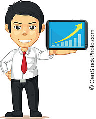 Man with Increasing Graph or Chart - A vector illustration...