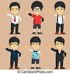 Office Worker Character Set - A vector set of several male...