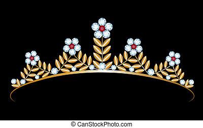 gold tiara with diamonds - Vintage gold tiara with diamonds...